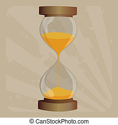 Old-fashioned hourglass in retro  frame