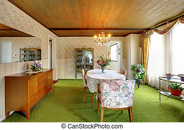 Old fashioned house interior. Dining room