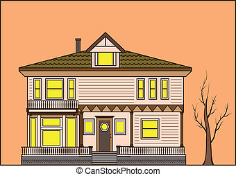 old fashioned house illustration clip-art eps