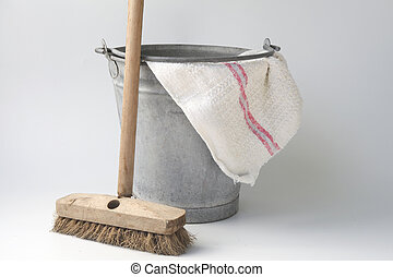 Old fashioned housekeeping with zinc bucket - zinc bucket...