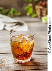 Old fashioned italian cocktail negroni with gin, campari, ...