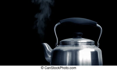 Old Fashioned Kettle Boiling - Old fashioned metal kettle...
