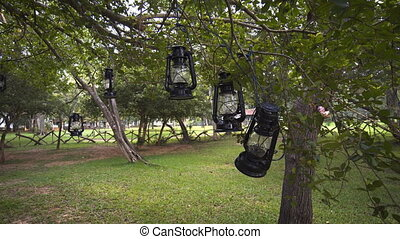 Old Fashioned Lanterns Hung from Trees at a Habarana Resort,...