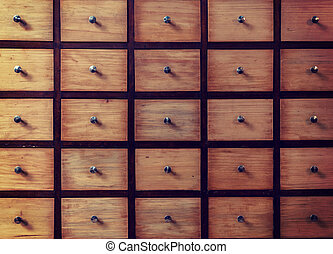 Old-fashioned Library Card Catalog. File cabinet storage