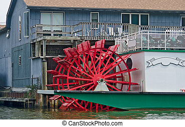 old-fashioned paddle wheel boat