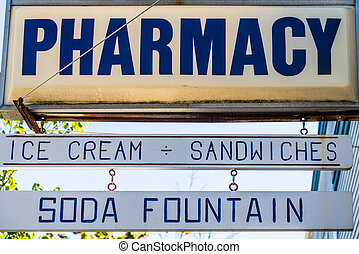Old Fashioned Pharmacy Sign - Old Fashioned glass and wood...