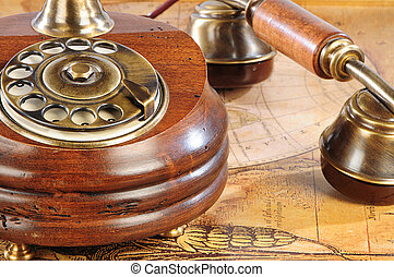 old-fashioned phone - old-fashioned brown wooden phone