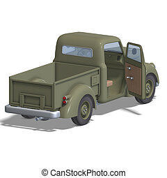 old fashioned pickup car - a four wheel open pickup. 3D...