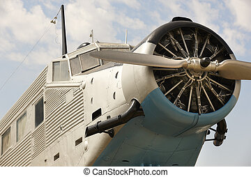 Old fashioned plane with propeller detail