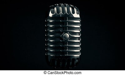 Old Fashioned Radio Mic Rotating - Classic old microphone...