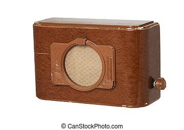Old fashioned radio set over white