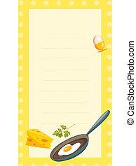 old fashioned recipe card ,  illustration