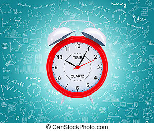 Old fashioned red alarm clock on abstract blue background