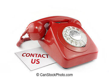 old fashioned red telephone with contact us message