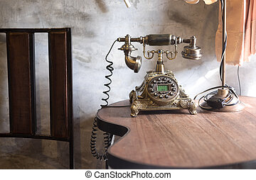 Old-fashioned retro rotary telephone