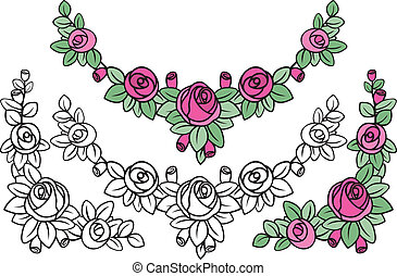 old-fashioned rose pattern decoration in black and colored...