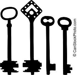 Old fashioned skeleton keys - Vector silhoutte of old ...