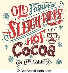 Old fashioned sleigh rides and hot cocoa card - Old...
