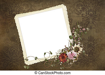 Old-fashioned snaphot frame - Old snapshot frame with floral...