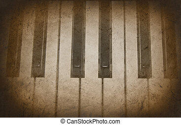 Sepia grunge texture on piano keys.