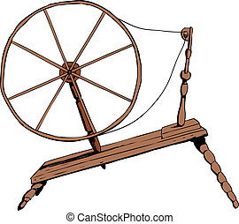 Illustration of side view on single old fashioned wooden 18th century era textile spinning wheel
