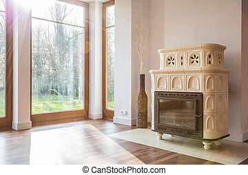 Old-fashioned stove in luxury interior