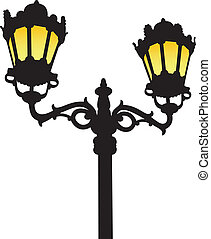 The silhouette of an old-fashioned street lamp with lighted yellow light on a white background.