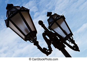 Fashioned Street Light against a Blue Sky