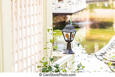 Old Fashioned Street Light outdoors. Environment decor
