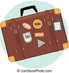Vector illustration of a vintage suitcase with travel destination labels, EPS 8, no transparencies