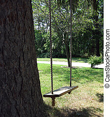 Old-Fashioned Swing - Homemade, old-fashioned, child's tree...