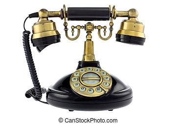 Old fashioned telephone isolated on white background