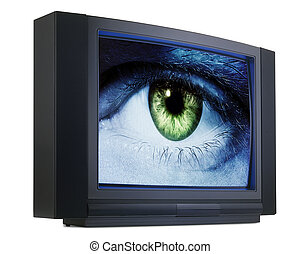Old fashioned television with eyes - Old fashioned...