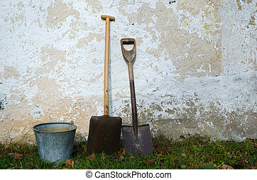 Old-fashioned Tools - Old-fashioned tools and a zinc bucket...