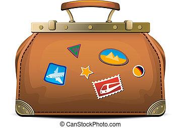 Old-fashioned travel bag (valise) over white. EPS 8, AI, ...