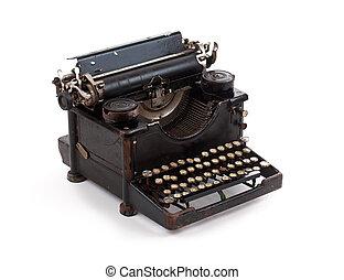 Old fashioned typewriter isolated on white background