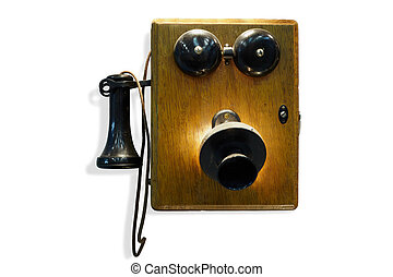 Old-fashioned wall-mounted phone with wooden case