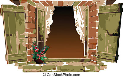 Old-fashioned window with flower. Vector illustration