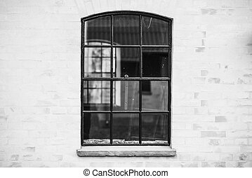 Old fashioned window with transparent glass in black and white