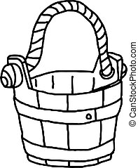 Old fashioned wooden bucket with a rope handle, hand drawn vector illustration