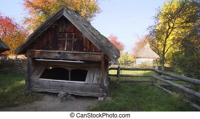 Old Fashioned Wooden Building on Ukrainian Farm - ...
