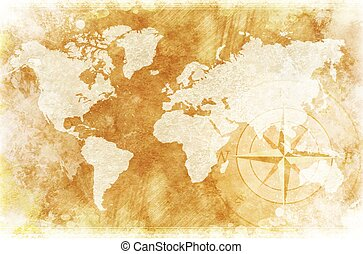 Rustic World Map - Old-Fashioned World Map Design: Rustic...