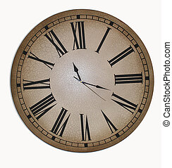 Old Father Time - Old Clock Face (Isolated) on white