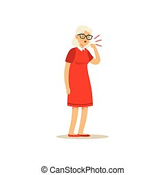 Old Female Character Coughing Colourful vector Toon Cute...