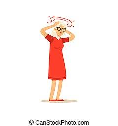 Old Female Character Feeling Vertigo Migraine Headache...