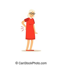Old Female Character Has A Bad back Pain Colourful vector...