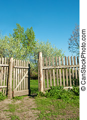 old fence in the village