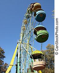 Old Ferris Wheel in Autumn Park