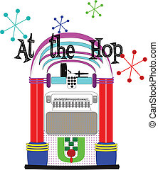 old fifties style jukebox with at the hop text on white