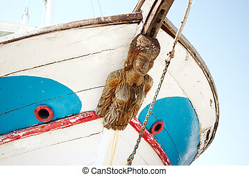 Old Figurehead on Sailing Ships. Wood woman sculpture